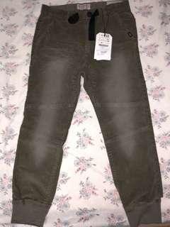 Zara Boys, Jogger Corduroy Trousers, Khaki Green Size 8