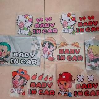 CAR STICKER - ONE PIECE , HELLO KITTY , BABY IN THE CAR