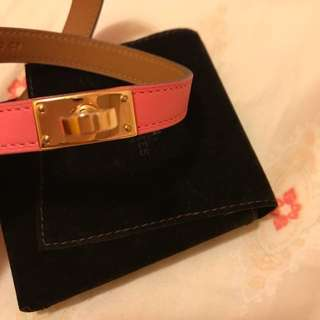 Hermes Kelly double tour bracelet rose azalee stamp A