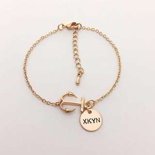 BL041-4A- Personalised Modern Anchor Bracelet with Genuine Swarovski Pearl & Max 4 Alphabets Per Disc - EITHER Shiny Rose Gold, Matt Rhodium or Matt Gold Plated Disc -Made To Order