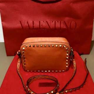 Authentic Valentino Orange Rockstud Crossbody Camera Bag