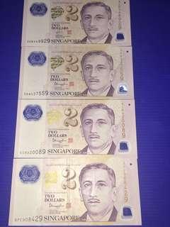 Singapore Portrait $2 9H9T (4pcs)