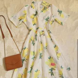 Lemon Patterned Midi Dress