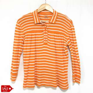 Jones New York Sport Striped Orange Shirt