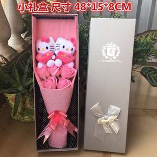 Hello Kitty Flower Bouquet In Gift Box (2 HK Plush + 5 Pink Roses)