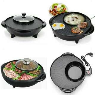 2 in 1 BBQ Grill & Steamboat Hot Pot Shabu Roast Fry Pan