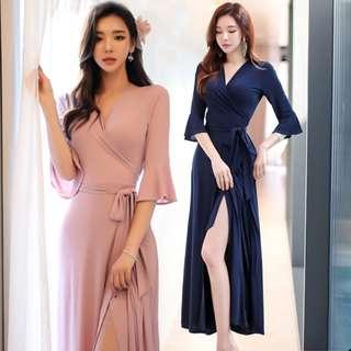 Instock Korean Semi Kebaya Wrap Dress