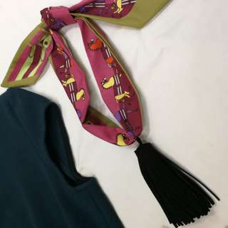 100% New Korean Scarf Necklace with Tassel Pendant