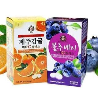 🚚 韓國濟州島皇冠維他命C片(橘子,藍莓)500g/瓶