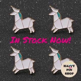 [IN STOCK] 🦄 White Unicorn Origami Animals Enamel Pins