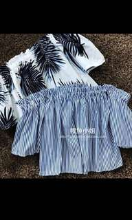 bn ulzzang blue and white striped off shoulder top