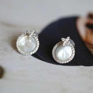 純银母珍珠耳釘