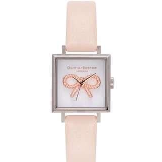 Olivia Burton 3D Vintage Bow Midi Square Dial Nude Peach Silver Watch