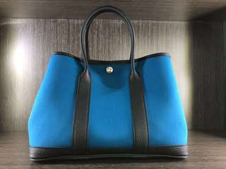 Hermes Garden Party 30cm, B3 Blue Zanzibar/Noir, Full set with original receipt