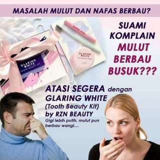 READY STOCK💕GLARING WHITE TOOTH BEAUTY KIT BY RZN.  Processing proceed upon full payment received via bank transfer