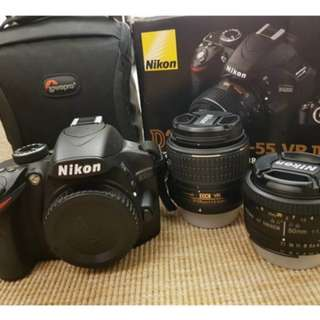 Nikon D3200 With Kit Lens 18-55mm VR ll & 50mm AF 1.8D