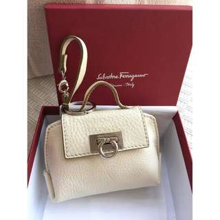 Salvatore Ferragamo  leather bag charm & shopping bag set  @Made in Italy