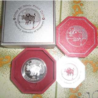 2009 Singapore Lunar Year of the Ox $2 Silver Proof Coin