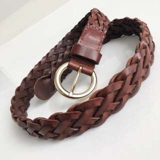 Brown / Gold Braid Leather Belt