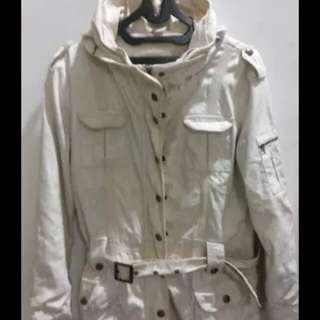 Jacket Jeans Parka Bomber Belt  Warna Cream