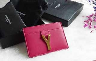 BRAND NEW 全新 YSL Y Card Holder Fuchsia