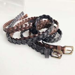 2x Black & Brown Braid Skinny Belt
