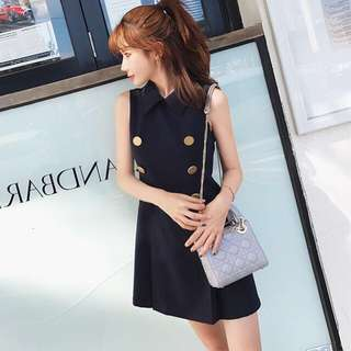 Sleek Sleeveless Collar Dress Band Buttons; elegant classy stylish; Korean kpop ulzzang jpop fashionable trendy; smart casual; woman women lady ladies female girls;