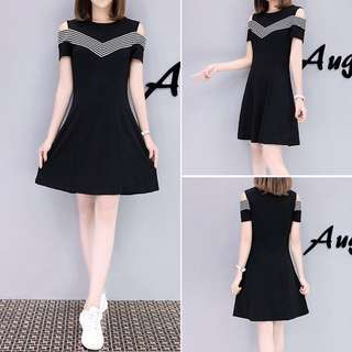 Cold shoulder cut out dress; Ulzzang Korean kpop jpop trendy fashionable; female woman women girls ladies lady; casual; hour glass;