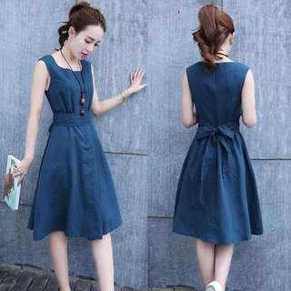 Blue Denim Dress; Sleeveless high waist; formal smart casual work office; ulzzang Korean kpop jpop; female woman women girls ladies lady;
