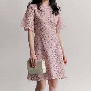 Lace Dress; lacy flowery floral pattern; smart causal work office; one piece; woman women female girls lady ladies; Korean ulzzang kpop