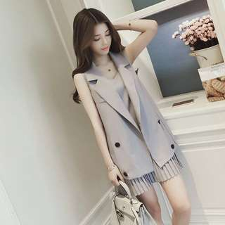 2 Piece Set; Sleeveless coat dress jacket skirt; ulzzang Korean Kpop jpop; female lady ladies woman women girls; work office formal casual;