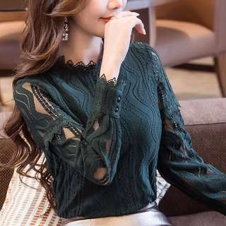 Lace Knit Top; turtle neck Long Sleeve lacy wavy shirt; ulzzang kpop Korean trend wave; female woman women ladies girls lady;