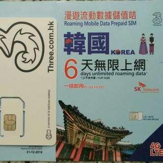 KOREA 韓國 上網卡 6日 4G 3GB +無限數據卡 SIM CARD