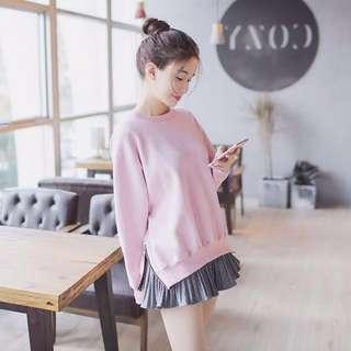 2 piece set; Korean ulzzang kpop jpop; Long sleeve loose pink sweater top; skirt bottom; woman women female ladies lady girls; casual school university;
