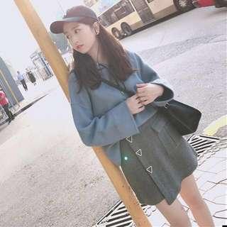 2 piece set; ulzzang Korean Kpop jpop style trendy fashionable; Long sleeve shirt hoodie; skirt; woman women female girls ladies lady;