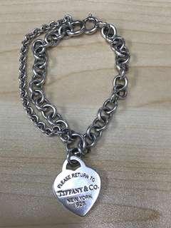 Tiffany & Co. 雙鍊心形吊飾手鍊