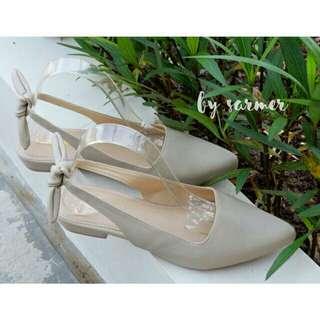 Baby flatshoes leather cream