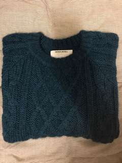 Patrik ervell cable sweater indigo, baby alpaca, 99%new