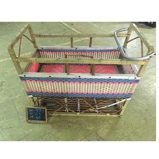 早期嬰兒搖籃 竹製手工 復古美品