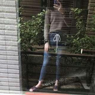 高腰綁帶牛仔褲