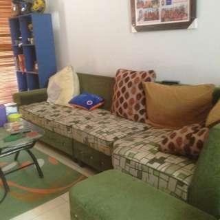 Sofa kain warna hijau