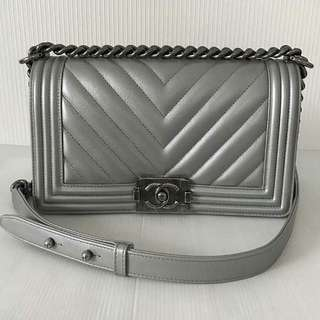 Authentic Chanel Boy Silver Caviar Medium Flap Bag