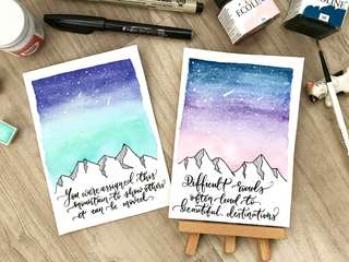 Galaxy encouragement / inspirational calligraphy cards