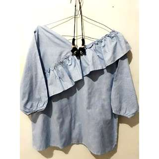 Blouse stripes biru