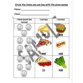 Math Worksheet - Counting using 20 cent coins by Special Needs Hub [7 Pages]