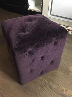 Adorable Purple Velvet Ottoman