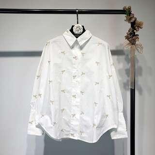 2018 embroidery gold Pegasus loose white shirt shirt