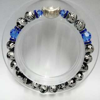 Dragons Rainbow Obsidian (8mm)  Bracelet with 999 Pure Silver Lucky Ingot Charm and blue crystals
