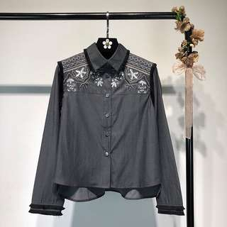 2018 Spring Embroidery Sequins Fringe Long Sleeve Temperament Gray Shirt