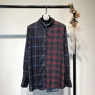 Europe and the United States fashion plaid hit color long-sleeved shirt women's shirt